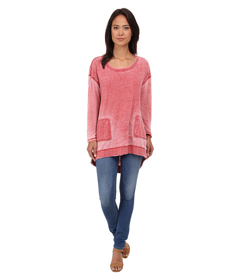Free People - Tiger Burnout Pullover (Red) Women's Sweatshirt