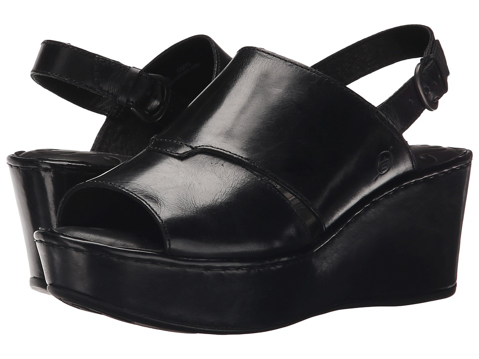 Born - Tanera (Black Waxed Suede) Women's Wedge Shoes