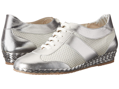 Sesto Meucci - 213 (White Nabuk/Silver Metallic Kid) Women's Lace up casual Shoes