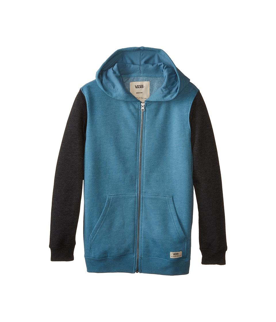 Vans Kids - Core Basics Color Block Zip Hoodie (Big Kids) (Storm Blue/Black Heather) Boy's Sweatshirt
