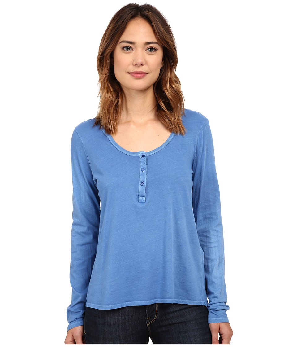 Volcom - Lived in Overdyed Henley (Royal) Women's Long Sleeve Pullover