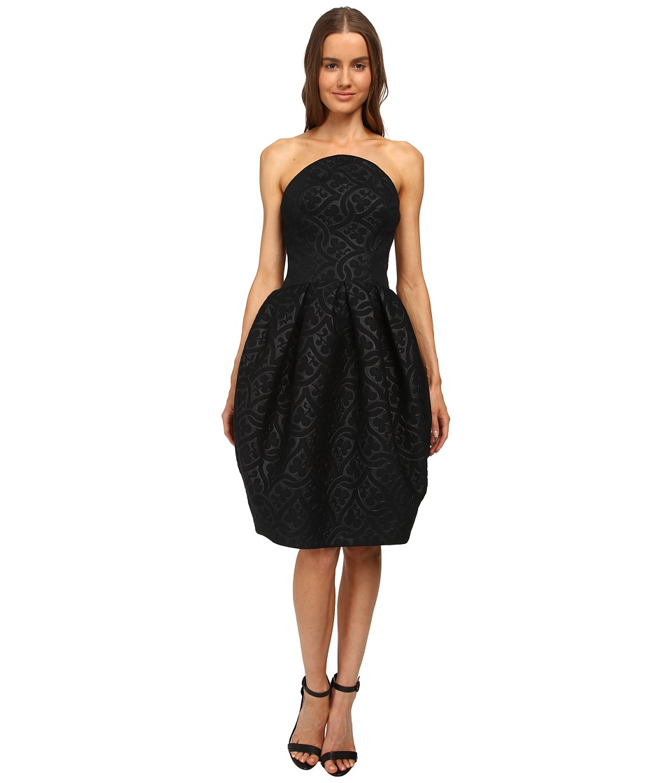 Zac Posen - Bustier Dress with Rounded Box Pleat Skirt (Black) Women's Dress