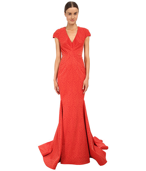 Zac Posen - Cap Sleeve V-Neck Mermaid Gown (Cavaliere Red) Women
