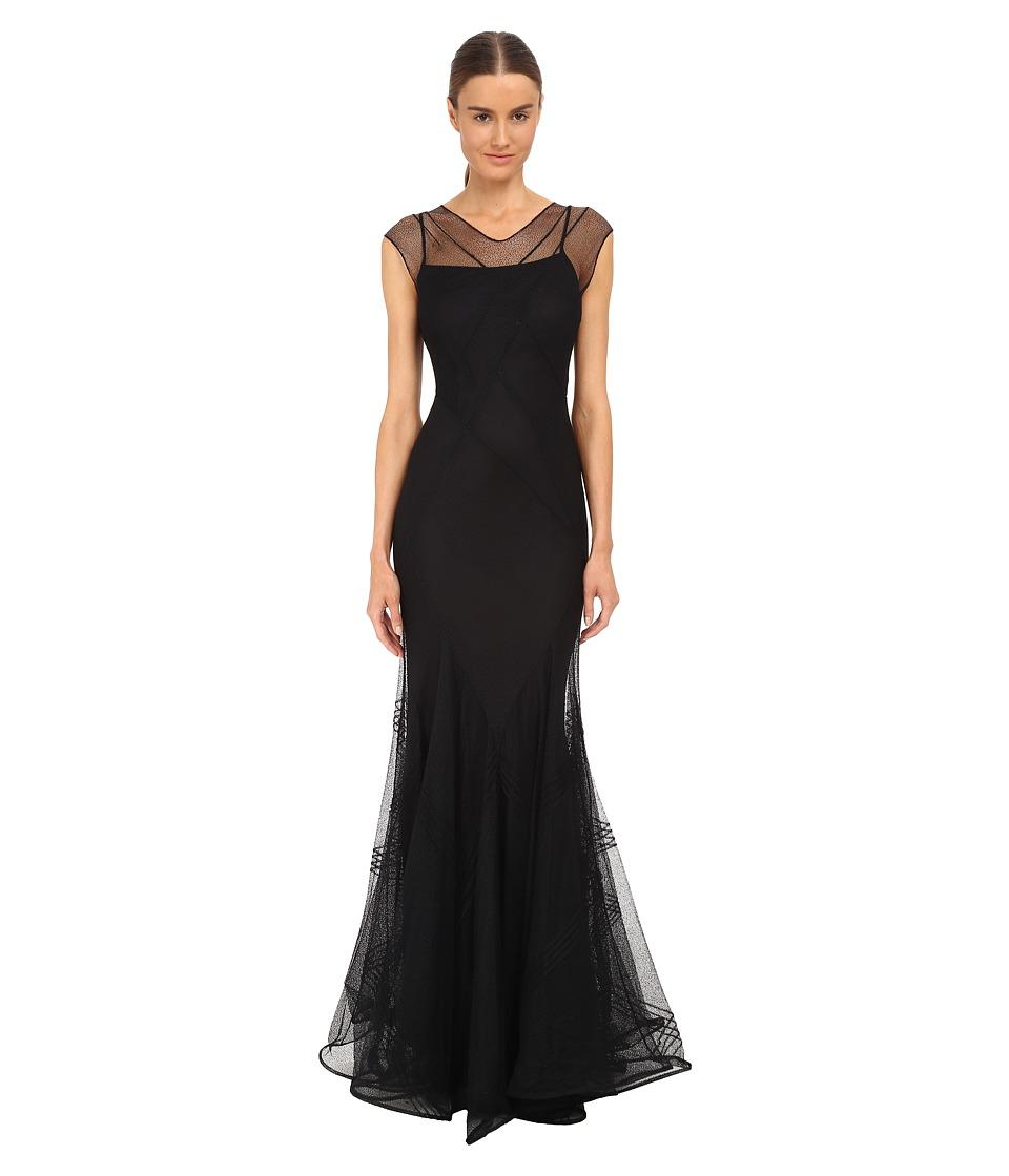 Zac Posen Cross-Back Sleeveless Mermaid Gown (Black) Women