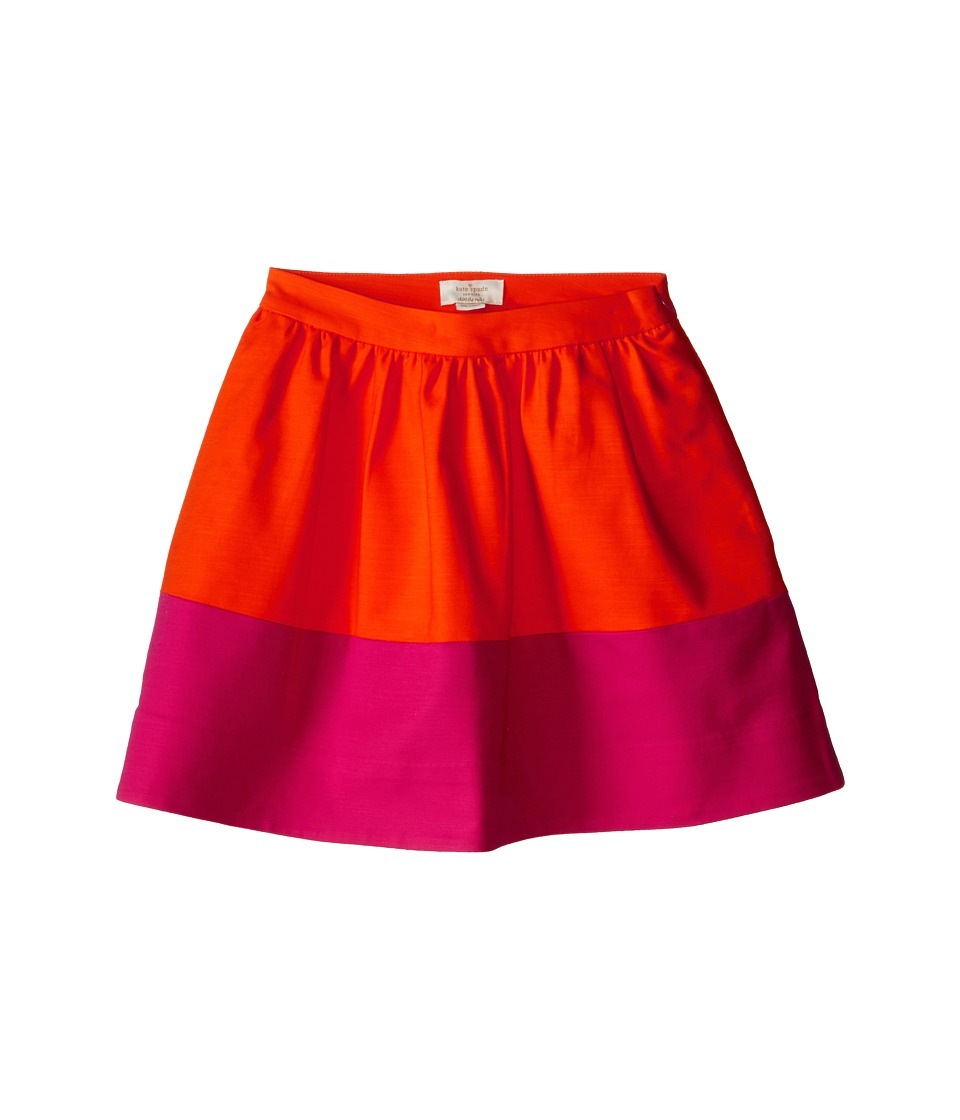 Kate Spade New York Kids - Color Blocked Pleated Skirt (Big Kids) (Orange/Pink) Girl's Skirt