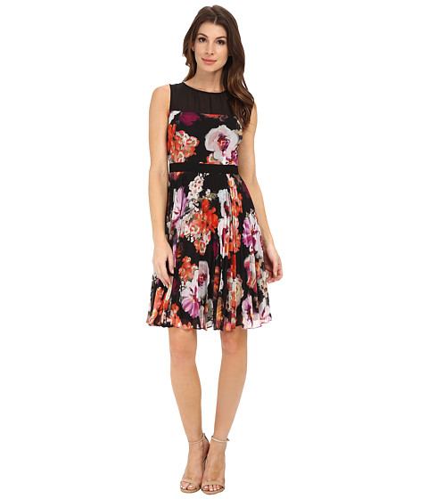 Maggy London - Paint Brush Flower Chiffon Fit and Flare (Black/Violet) Women's Dress