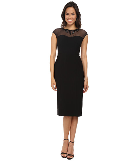 Maggy London - Techno Crepe Sheath with Embellished Illusion Mesh (Black) Women's Dress