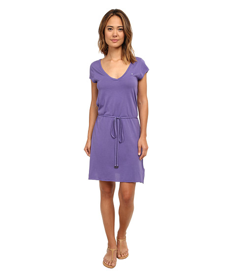 True Religion - Short Sleeve Branded V-Neck Dress (Wild Orchid) Women