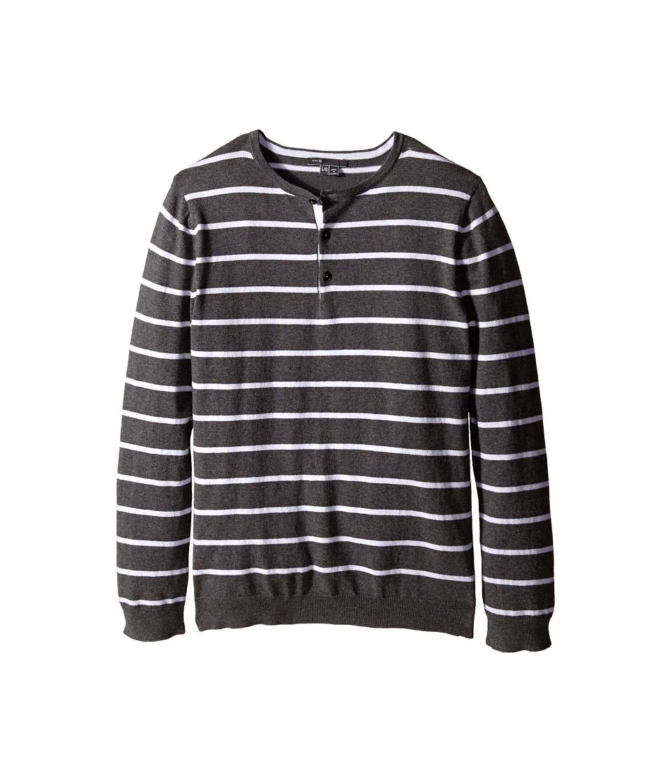 Vince Kids - Long Sleeve Striped Henley (Big Kids) (Heather Carbon/Mist) Boy's T Shirt