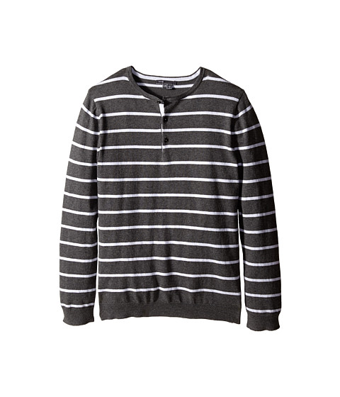 Vince Kids - Long Sleeve Striped Henley (Big Kids) (Heather Carbon/Mist) Boy's T Shirt
