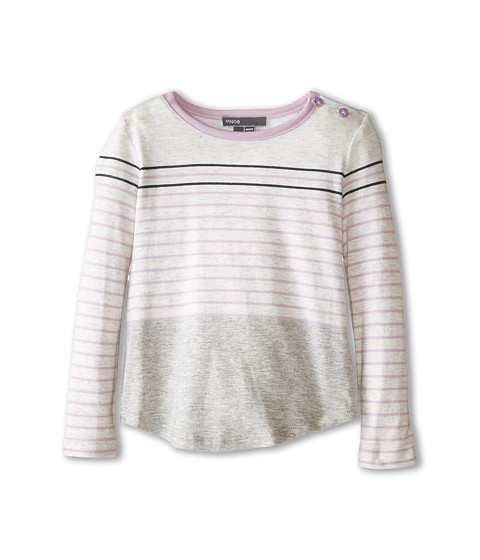 Vince Kids - Mixed Stripe Color Block Top (Infant) (Heather Cloud/Blush/Heather Steel/Coastal) Girl