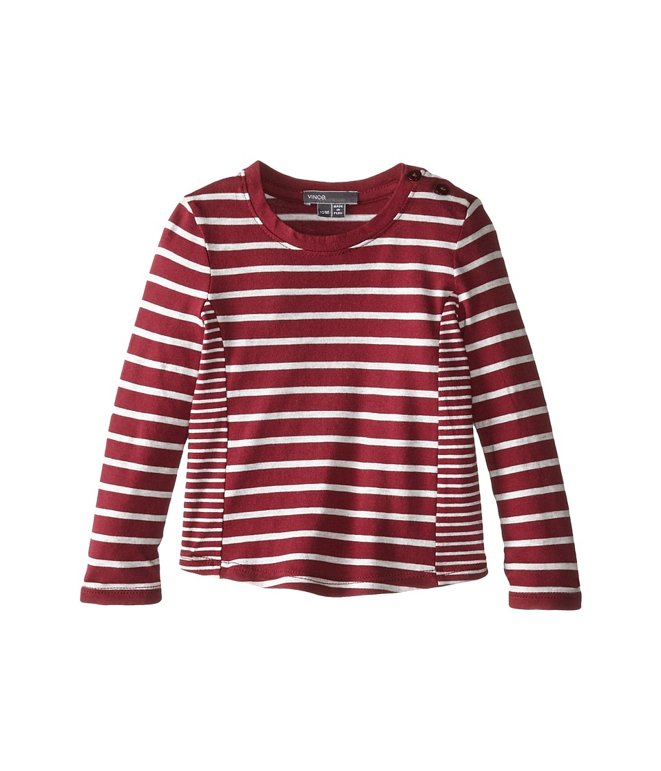 Vince Kids - Mixed Stripe Top (Infant) (Merlot/Heather Cloud) Girl's Long Sleeve Pullover