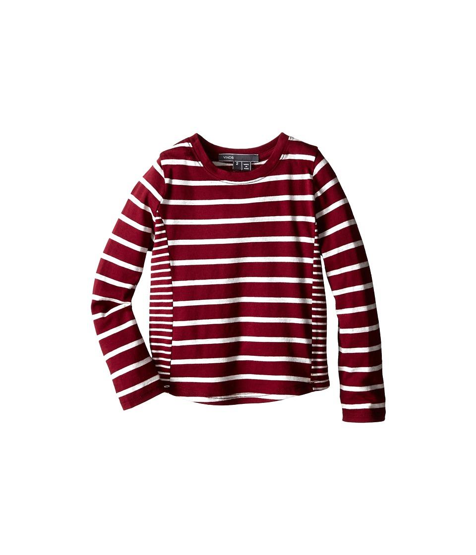 Vince Kids - Mixed Stripe Top (Toddler/Little Kids) (Merlot/Heather Cloud) Girl's Long Sleeve Pullover