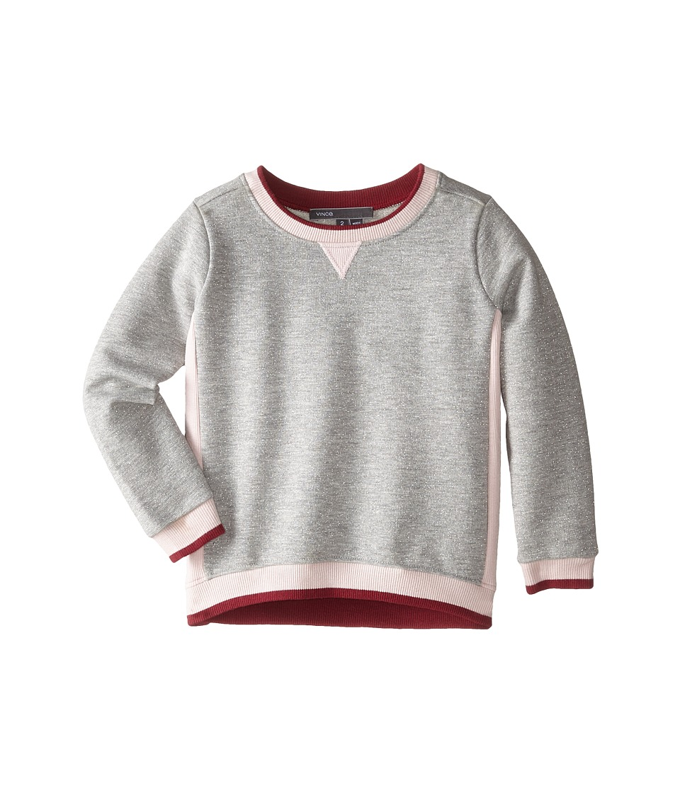 Vince Kids - Luxe Color Blocked Tunic (Toddler/Little Kids) (Heather Cloud/Pink Rose/Merlot) Girl's Sweater