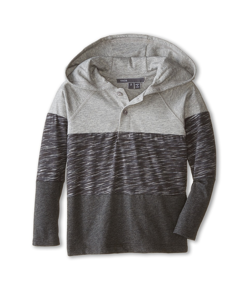Vince Kids - Spaced Dyed Color Blocked Hoodie (Toddler/Little Kids) (Heather Steel/Heather Carbon) Boy