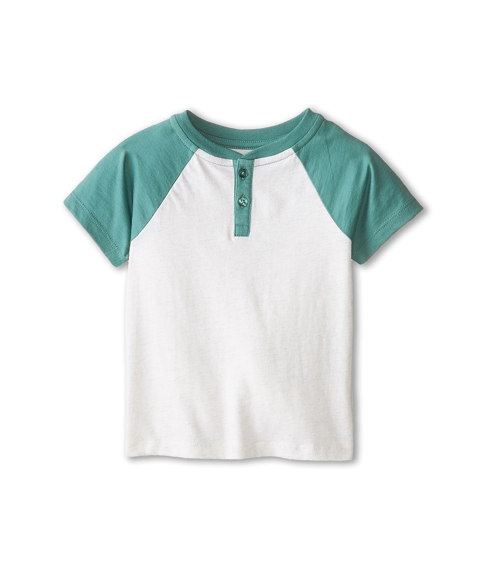 Vince Kids - Henley w/ Contrast Piecing (Toddler/Little Kids) (Heather White/Mineral Green) Boy's Short Sleeve Pullover