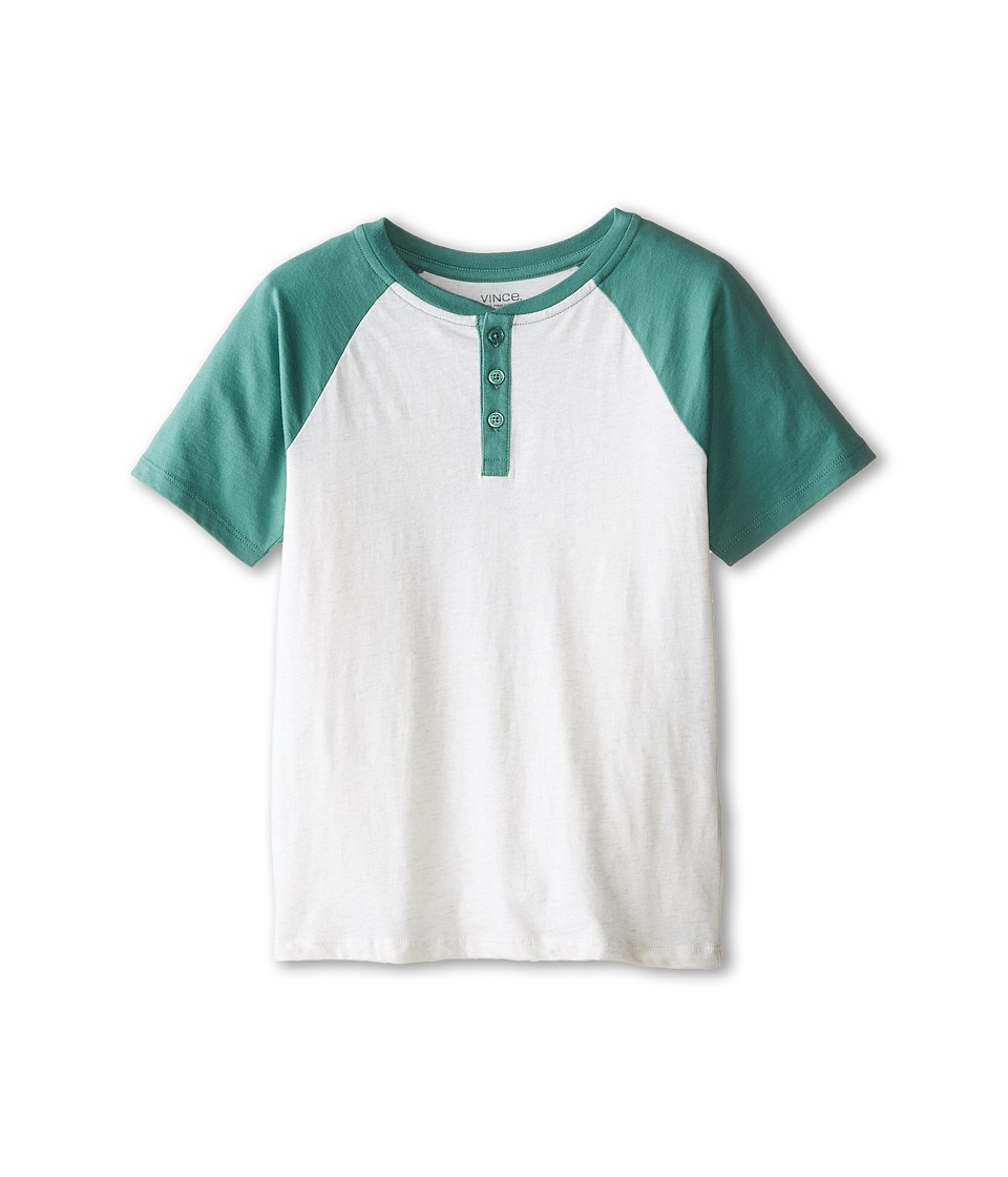 Vince Kids - Henley w/ Contrast Piecing (Big Kids) (Heather White/Mineral Green) Boy's Short Sleeve Pullover