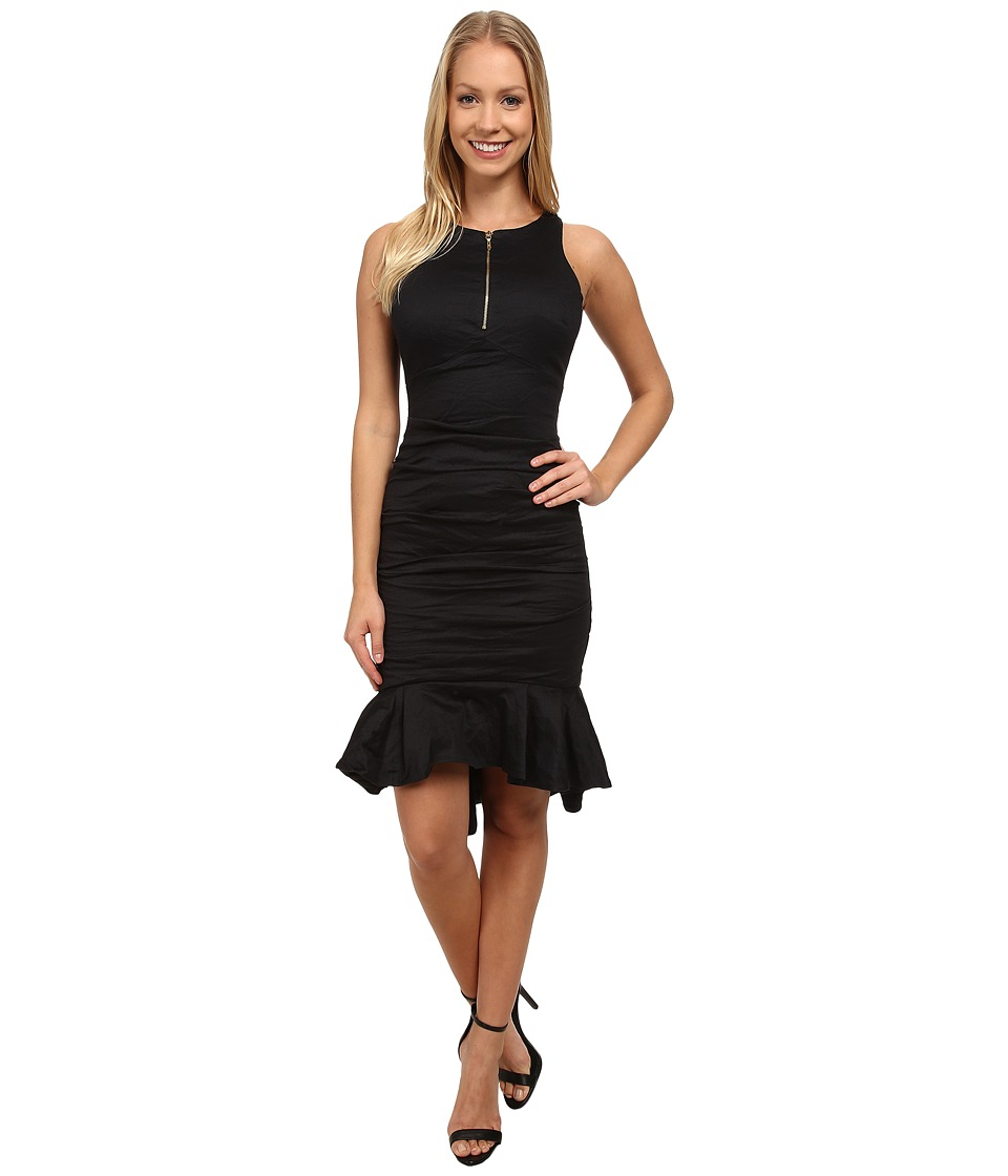 Nicole Miller High Neck w/ Zip and Ruffle Hem Dress (Black) Women