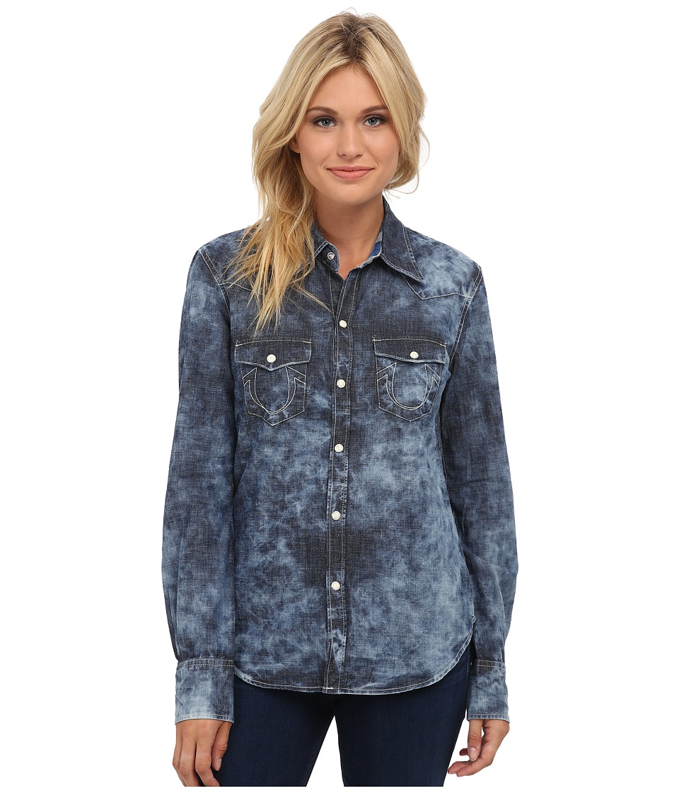 True Religion - Phoenix Georgia Shirt (Granite Blue) Women's Clothing