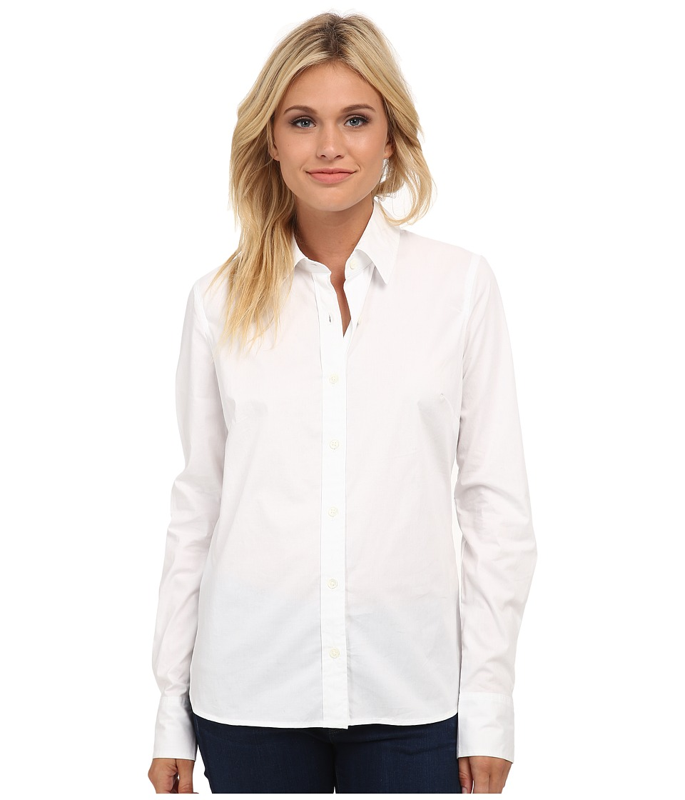 True Religion - Fitted Button Down Long Sleeve Woven Shirt (White) Women's Long Sleeve Button Up
