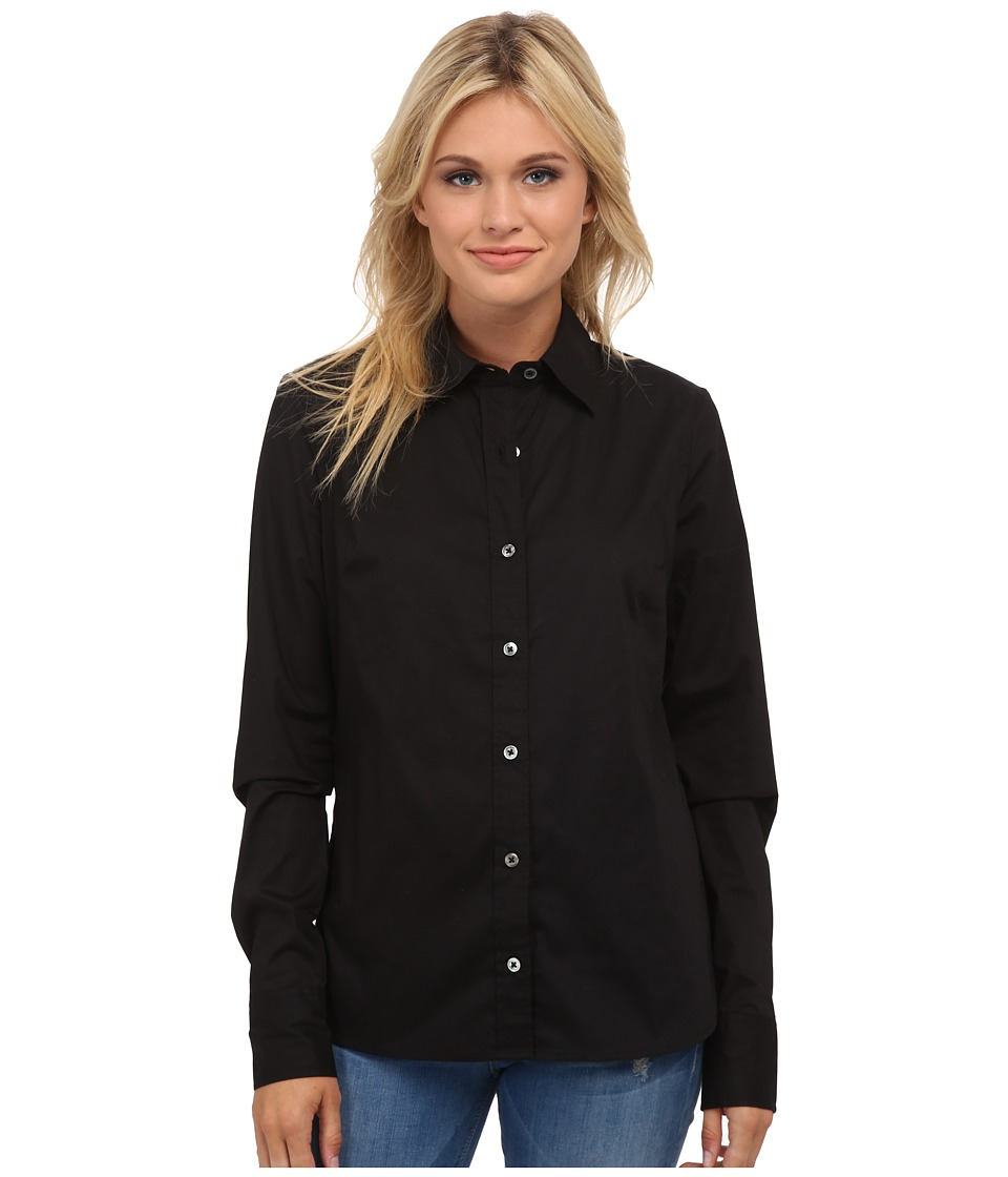 True Religion - Fitted Button Down Long Sleeve Woven Shirt (Black) Women's Long Sleeve Button Up