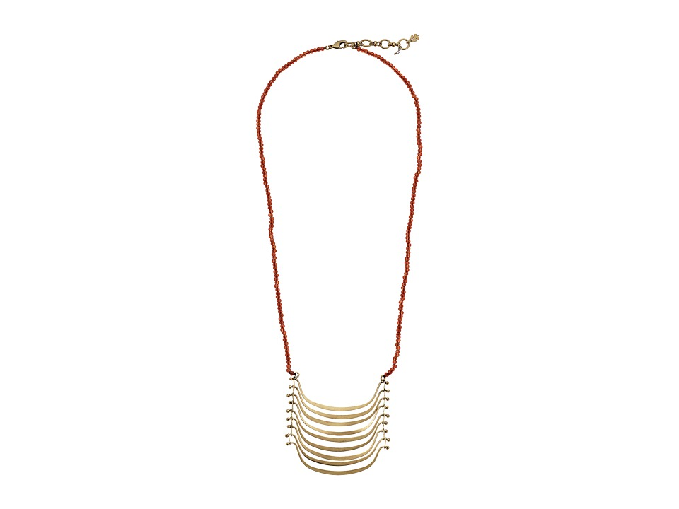 Lucky Brand - Red and Gold Multi Moon Necklace (Gold) Necklace