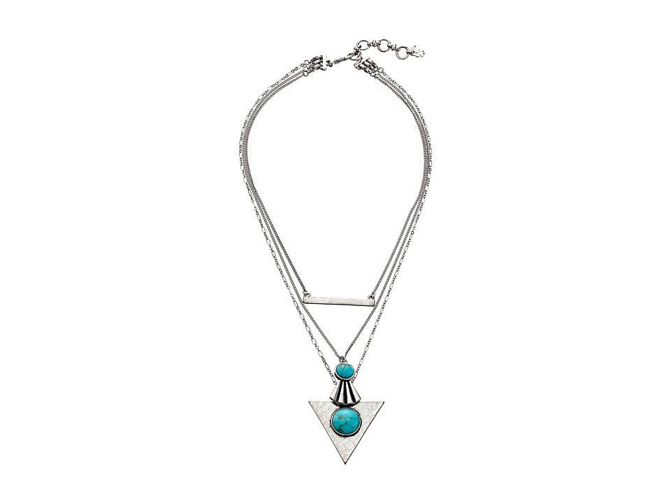 Lucky Brand - Turquoise and Silver Lucky Layer Necklace (Silver) Necklace