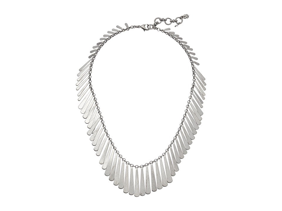 Lucky Brand - Short Silver Feather Necklace (Silver) Necklace