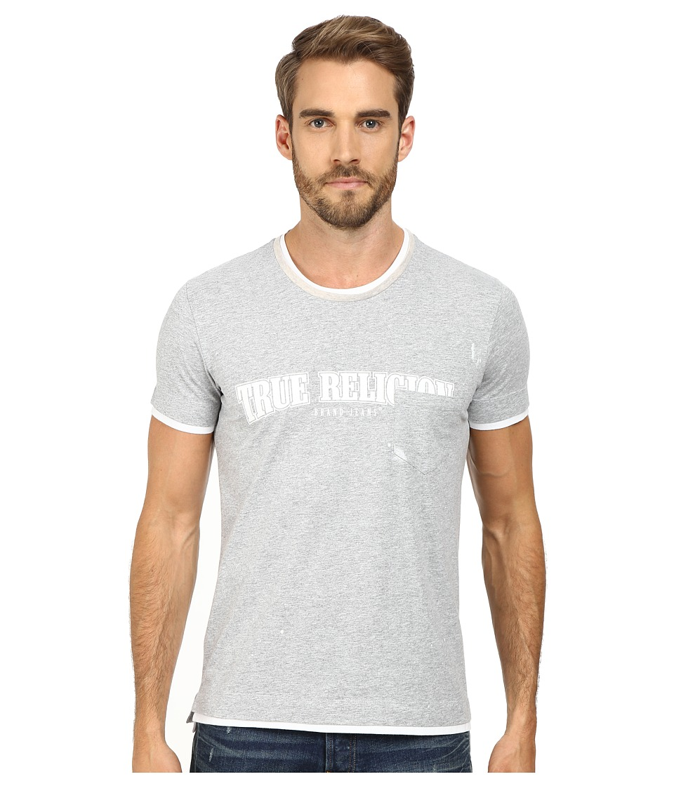 True Religion - Short Sleeve Crew Neck Tee (Medium Melange Grey) Men