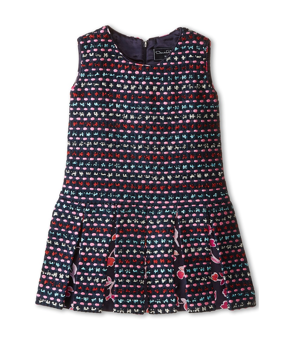 Oscar de la Renta Childrenswear - Tweed Watercolor Dress (Toddler/Little Kids/Big Kids) (Navy) Girl's Dress