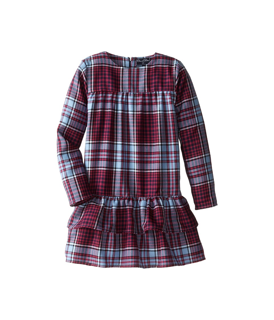 Oscar de la Renta Childrenswear - Multi Plaid Wool Dress (Toddler/Little Kids/Big Kids) (Cornflower) Girl's Dress