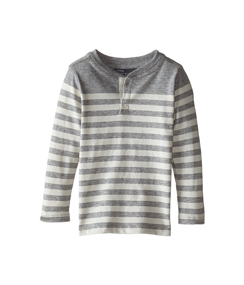 Vince Kids - Long Sleeve Breton Henley (Infant) (Heather Steel/Vaporous Grey) Boy