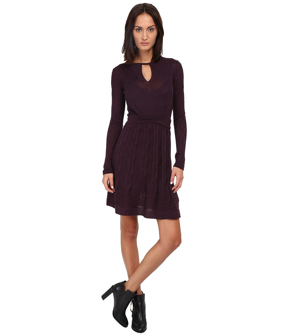 M Missoni Solid Knit Long Sleeve Dress (Eggplant) Women