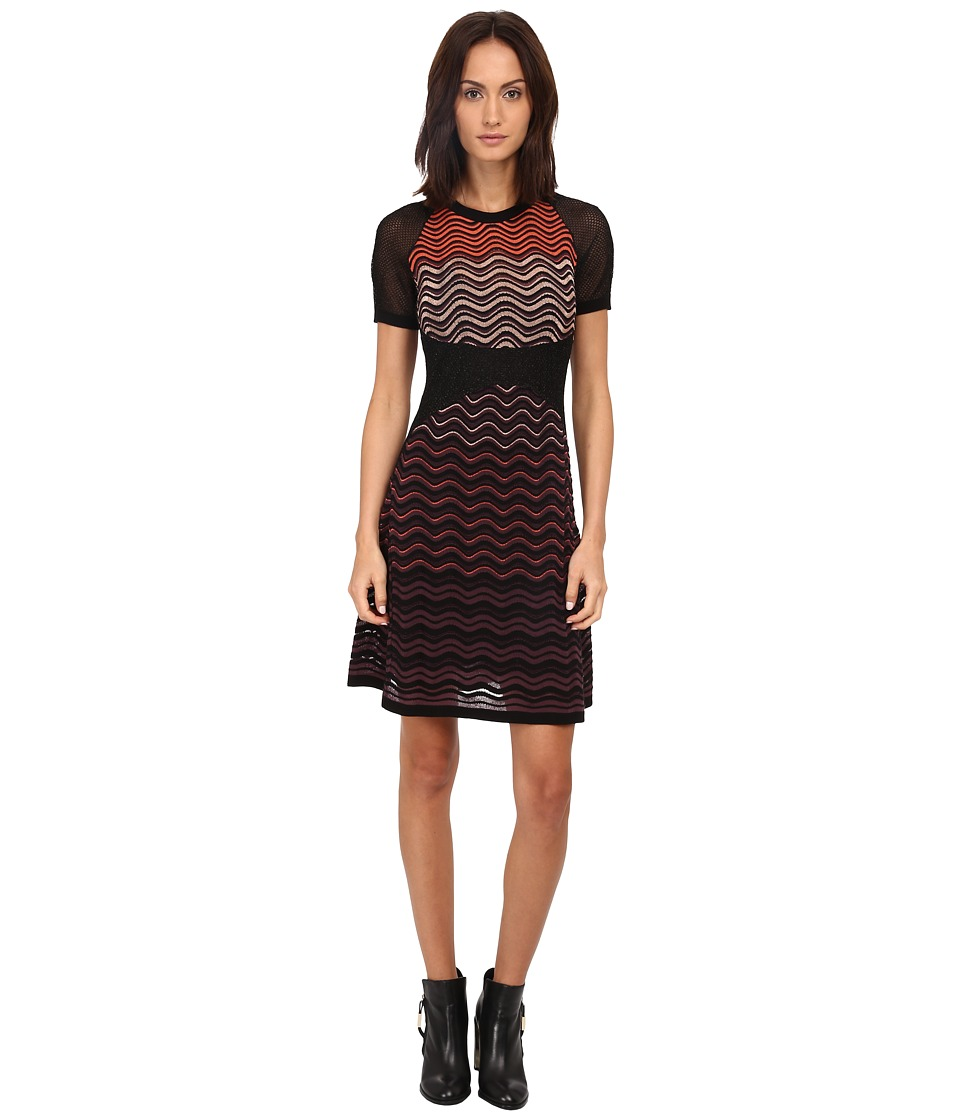 M Missoni Ripple Stitch Short Sleeve Mesh Dress (Eggplant) Women