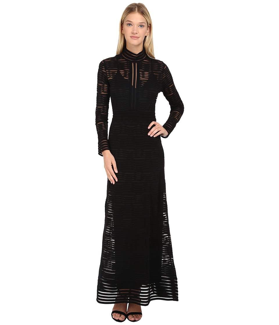 M Missoni - Solid Rib Stitch Long Dress (Black) Women's Dress