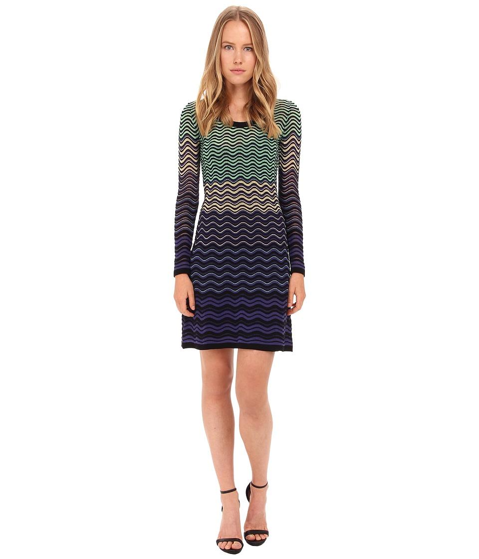M Missoni - Ripple Stitch Long Sleeve Dress (Violet) Women's Dress