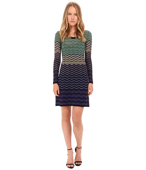M Missoni - Ripple Stitch Long Sleeve Dress (Violet) Women