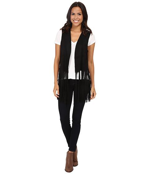 Blank NYC - Faux Suede Fringe Vest (Black) Women's Vest