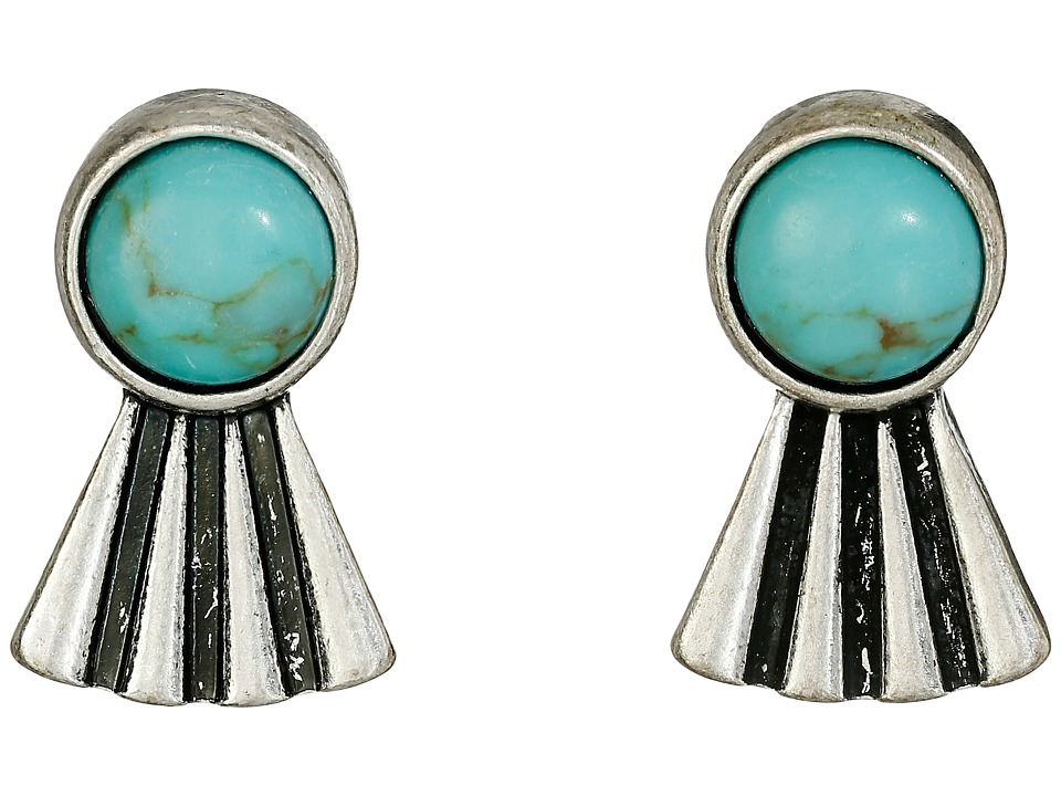 Lucky Brand - Turquoise Feather Stud Earrings (Silver) Earring