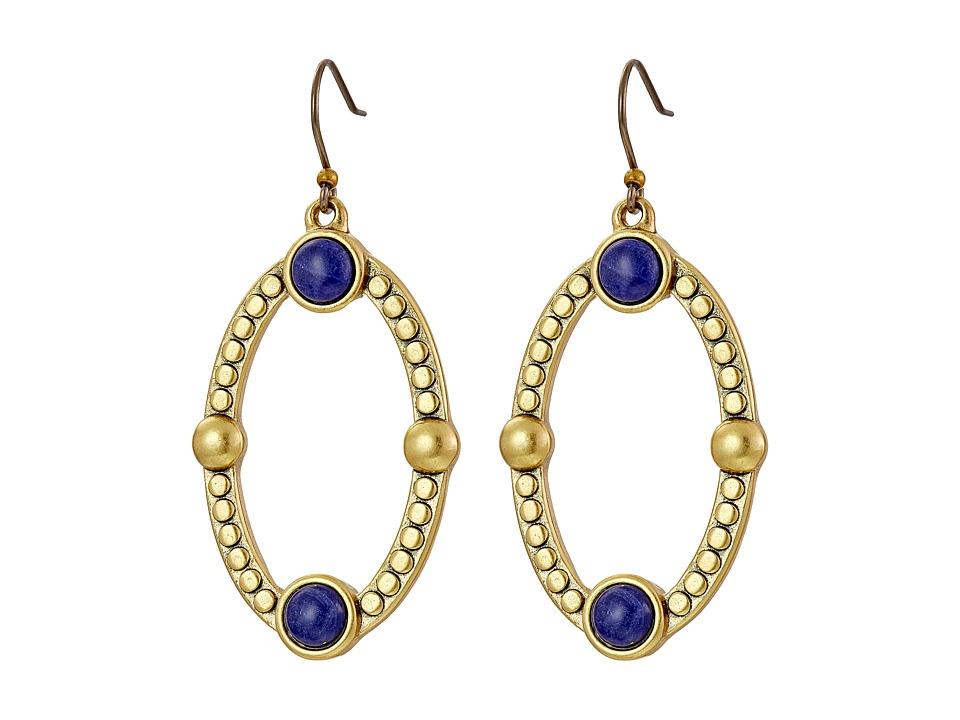 Lucky Brand - Lapis Oval Drop Earrings (Gold) Earring