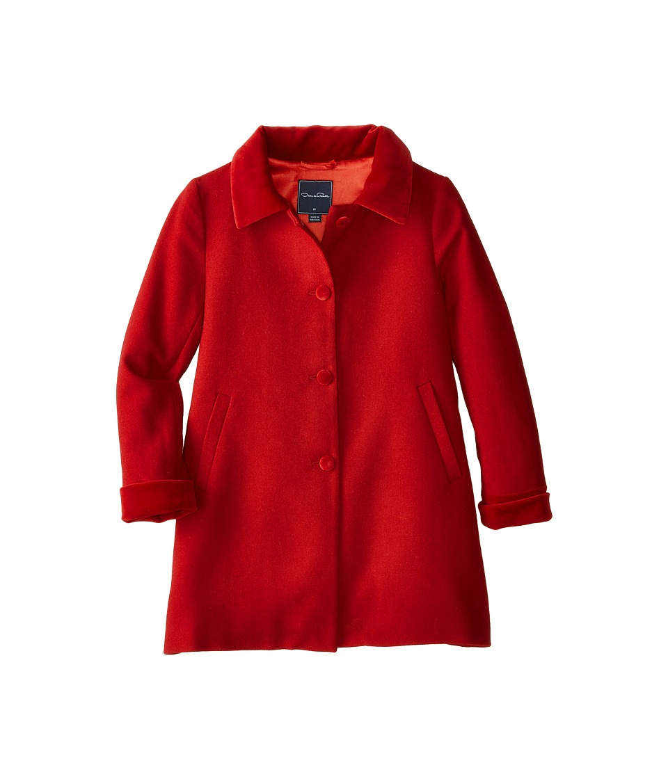 Oscar de la Renta Childrenswear - Wool Button Coat (Toddler/Little Kids/Big Kids) (Barn Red) Girl's Coat
