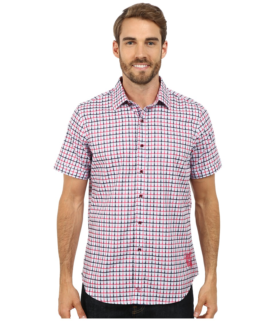 Robert Graham - Wheeler Field Short Sleeve Woven Shirt (Magenta) Men's Short Sleeve Button Up