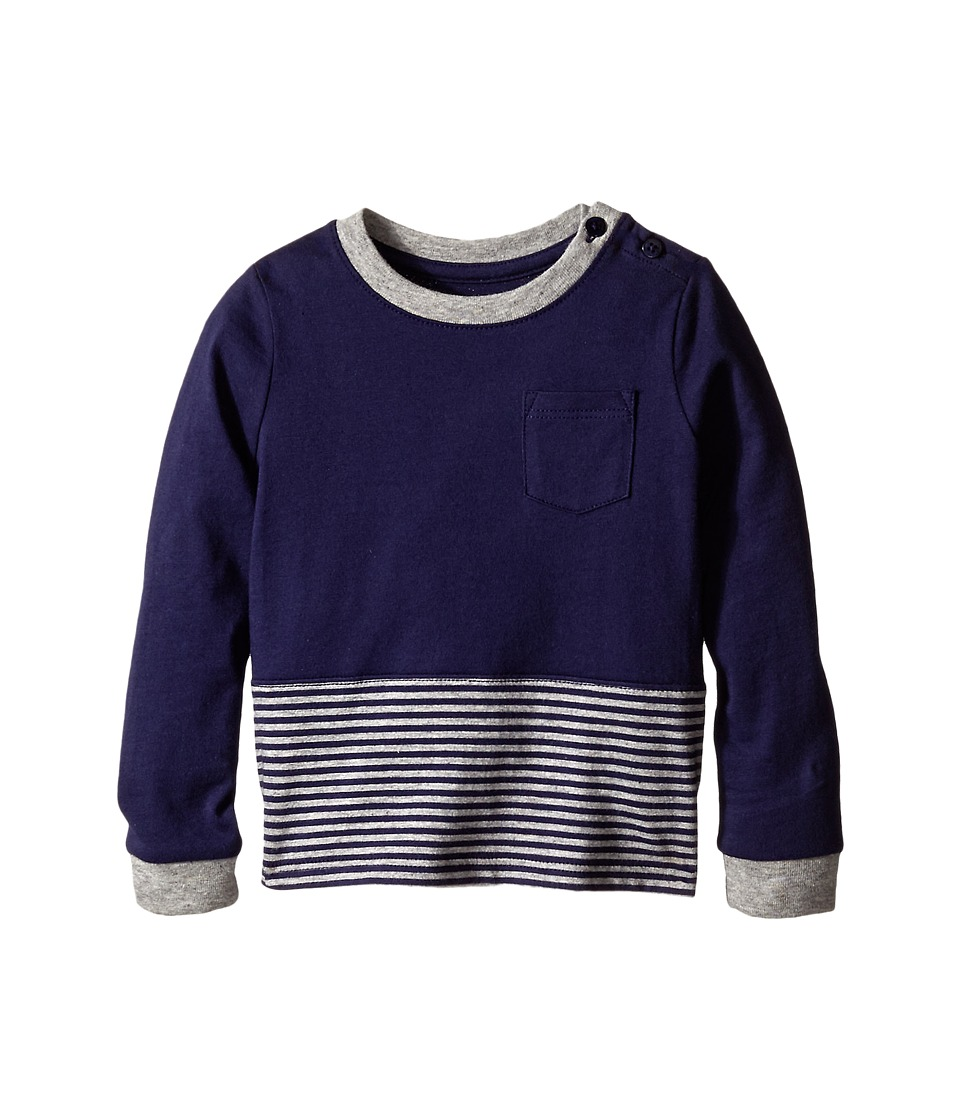 Vince Kids - Crew Neck Pocket Long Sleeve Tee (Infant) (Imperial Blue/Heather Steel) Boy