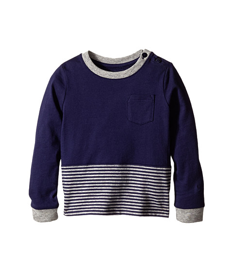 Vince Kids - Crew Neck Pocket Long Sleeve Tee (Infant) (Imperial Blue/Heather Steel) Boy's T Shirt