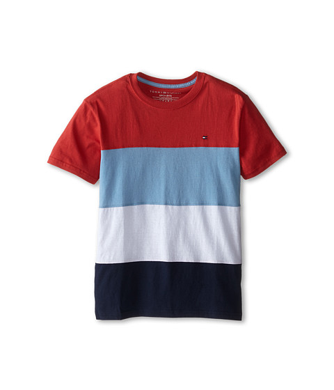 Tommy Hilfiger Kids - Pieced Stripe Tee (Big Kids) (Red Geranium) Boy