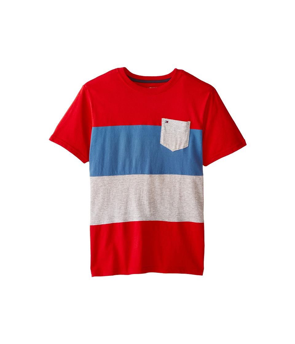 Tommy Hilfiger Kids - Pieced Bold Stripe Tee (Big Kids) (Red Geranium) Boy's T Shirt