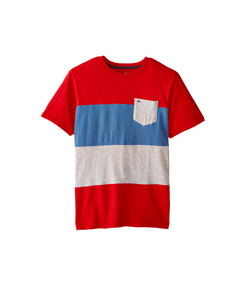 Tommy Hilfiger Kids - Pieced Bold Stripe Tee (Big Kids) (Red Geranium) Boy's T Shirt