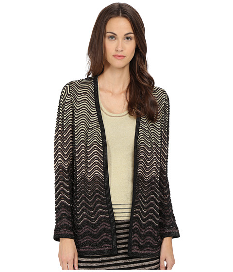 M Missoni - Ripple Stitch Lurex Cardigan (Black) Women's Sweater