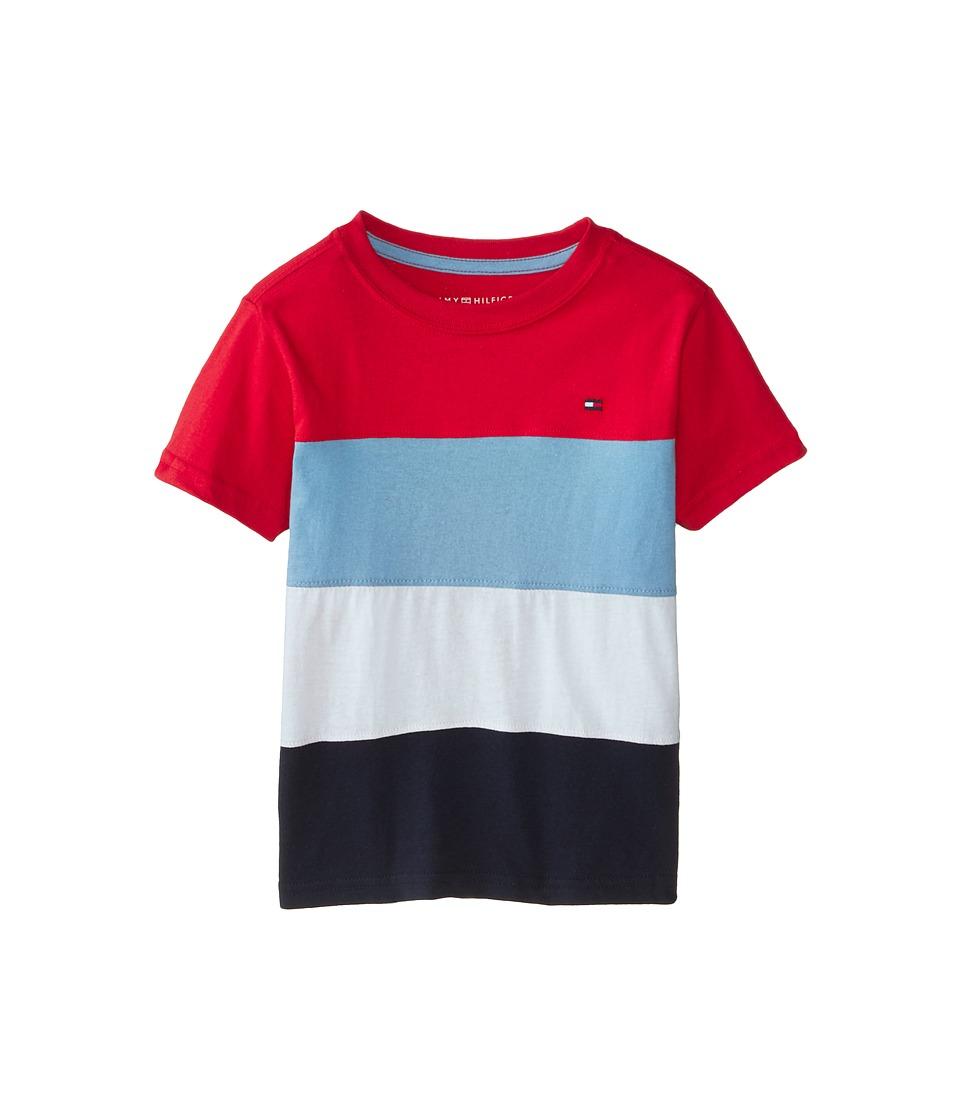 Tommy Hilfiger Kids - Pieced Stripe Tee (Toddler/Little Kids) (Red Geranium) Boy