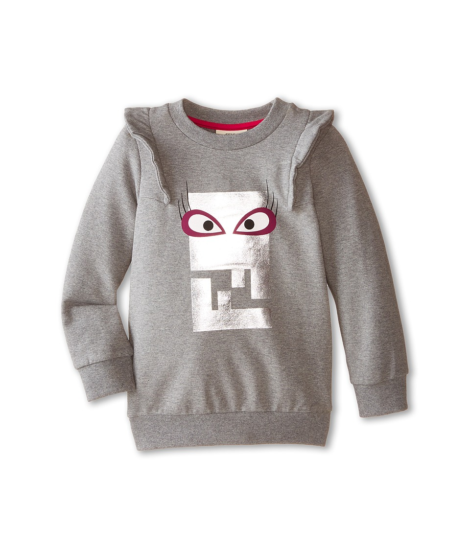Fendi Kids - Logo Sweatshirt Femme (Toddler) (Grey) Girl's Sweatshirt